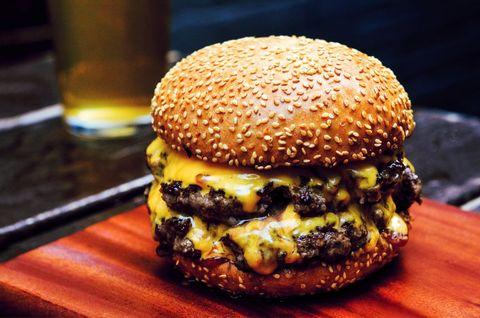 Food, Dish, Hamburger, Buffalo burger, Junk food, Cuisine, Veggie burger, Cheeseburger, Ingredient, Burger king premium burgers,