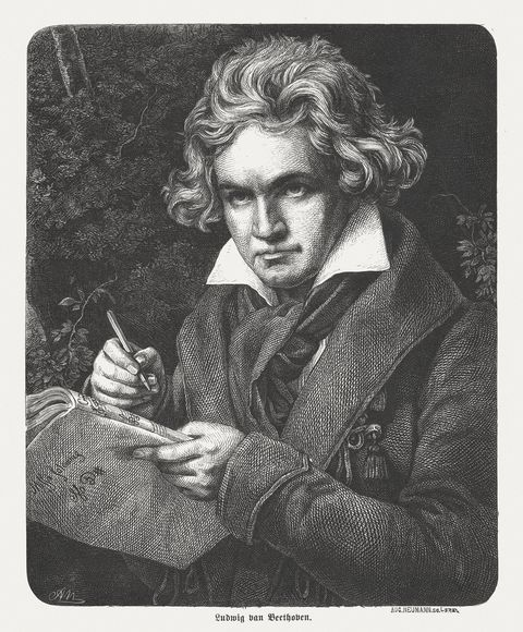 ludwig van beethoven 1770 1827, german composer and pianist, published 1869