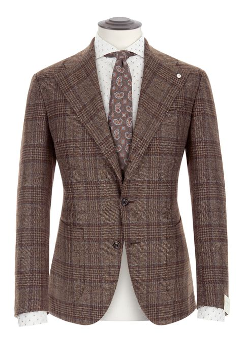 Clothing, Outerwear, Blazer, Jacket, Suit, Brown, Formal wear, Beige, Top, Button,