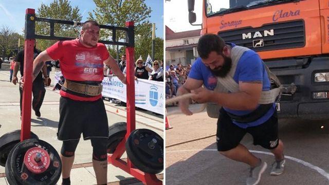 luis fernández i y juan ferrer compiten en una prueba del strongman de la liga nacional de fuerza para saber quién es el hombre más fuerte de españa
