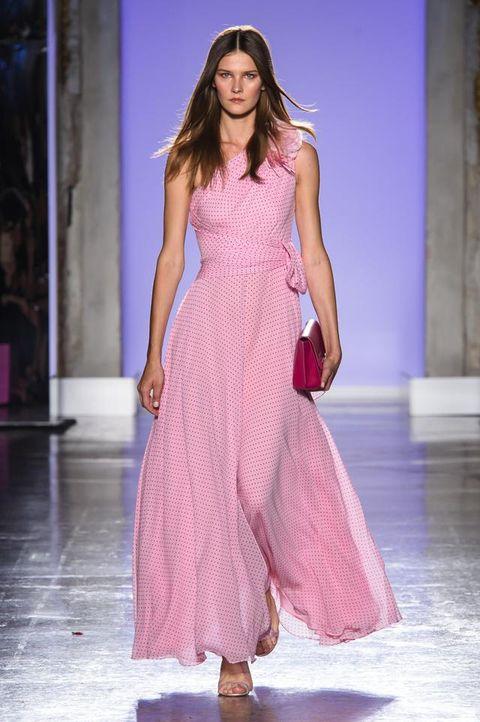 Fashion show, Fashion model, Fashion, Runway, Clothing, Dress, Pink, Haute couture, Fashion design, Event,
