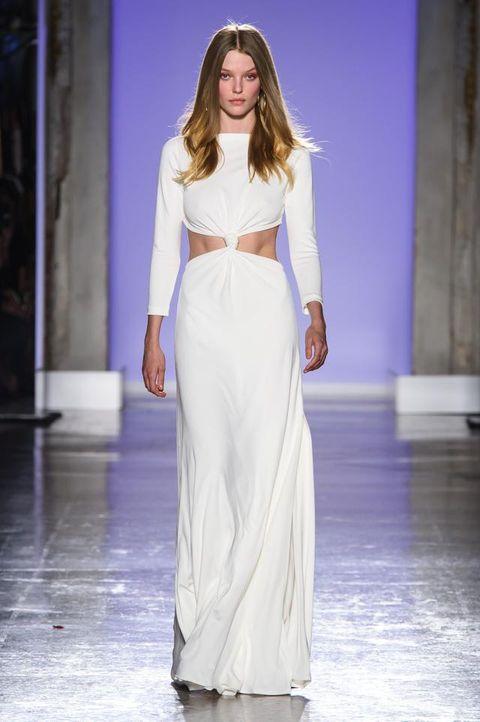 Fashion model, Clothing, Fashion, Fashion show, Runway, Dress, White, Haute couture, Gown, Shoulder,