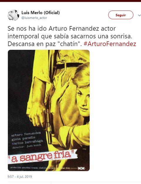 Luis Merlo se despide de Arturo Fernández