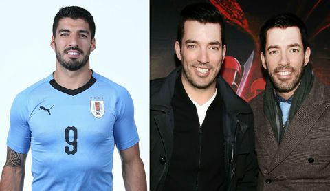 Luis Suarez and Property Brothers Drew and Jonathan Scott