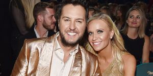 luke bryan and wife caroline boyer - academy of country music awards 2019