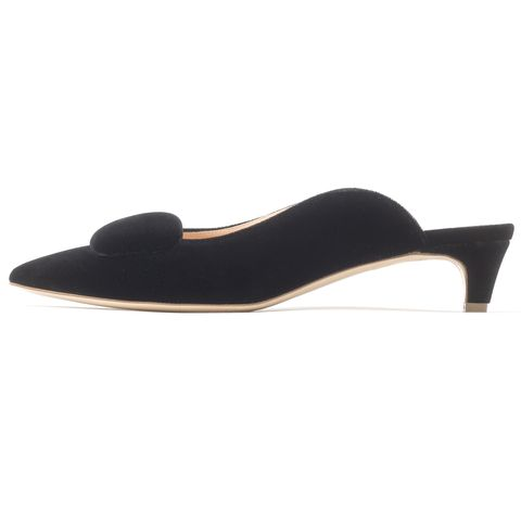 rupert sanderson black velvet heels mules