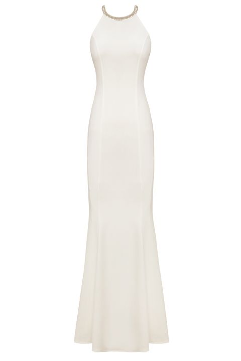 Clothing, Dress, Gown, White, Day dress, Neck, Cocktail dress, A-line, Strapless dress, Beige,