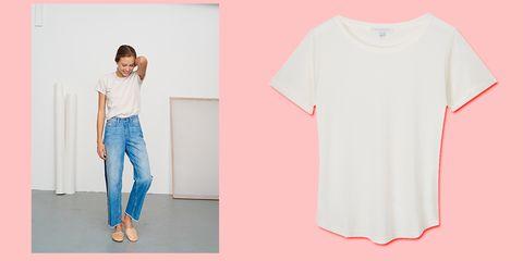 Clothing, White, Blue, Pink, T-shirt, Shoulder, Sleeve, Neck, Footwear, Fashion,