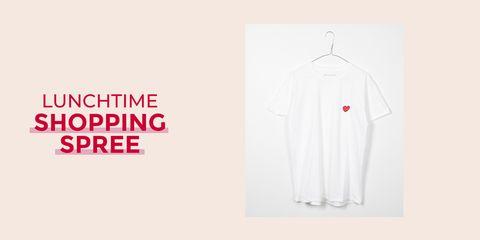 White, Clothing, Product, Sleeve, T-shirt, Line, Logo, Font, Outerwear, Uniform,