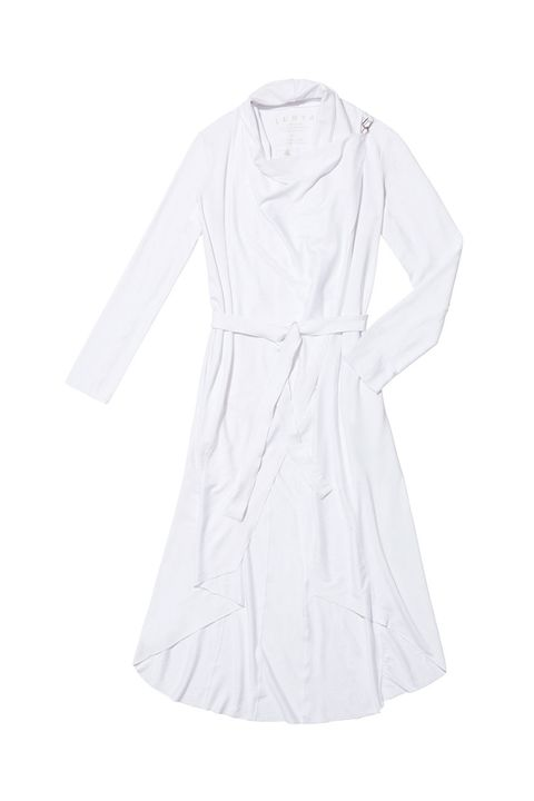 Clothing, White, Dress, Sleeve, Day dress, Outerwear, Robe, Collar, Cocktail dress,