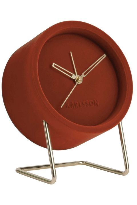 Karlsson Lush Velvet Alarm Clock in Clay Brown / Red