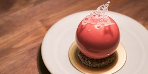 Luxury French Dessert, Peaches Mousse Cake with Spherical Shape
