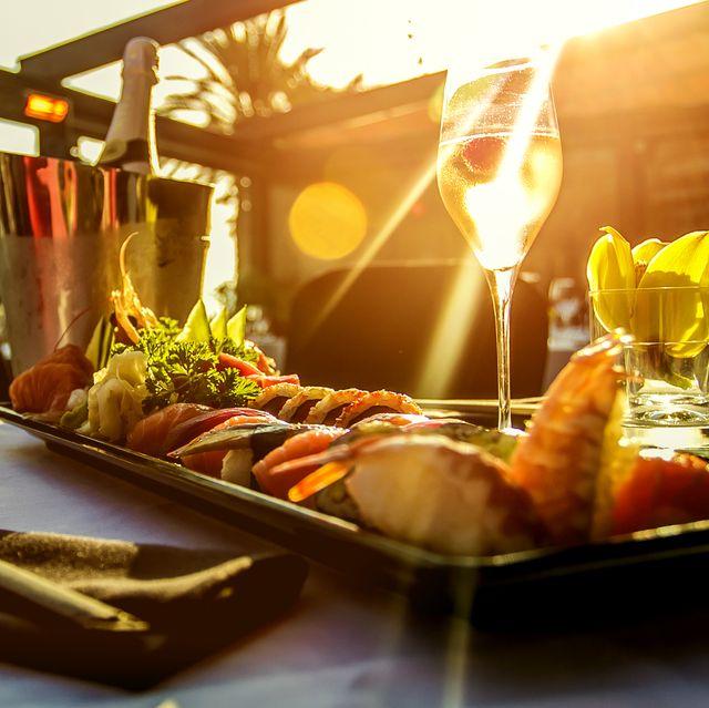 luxury restaurant table on sunset