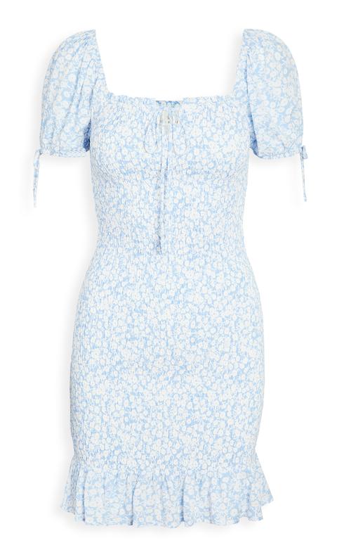 藍色小花方領短洋裝