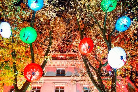 Lyon. France. Festival of Lights. art works called Lantern Of Zigong in De La Republique street