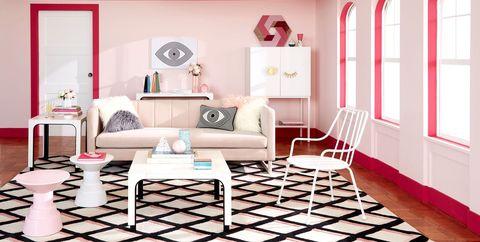 Pink, Furniture, Room, Interior design, Floor, Living room, Laminate flooring, Table, Flooring, Ceiling,