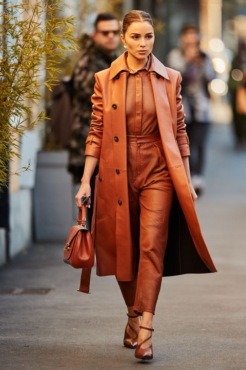 Fashion, Street fashion, Clothing, Fashion model, Orange, Coat, Runway, Overcoat, Brown, Outerwear,