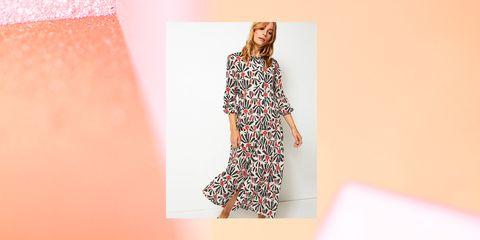 Clothing, Dress, Fashion model, Fashion, Pattern, Pattern, Sleeve, Neck, Day dress, Outerwear,