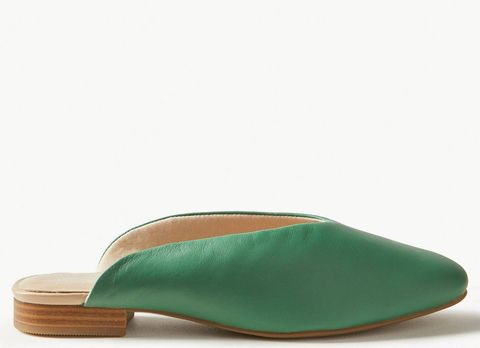 M&S Leather Mule Shoes Green