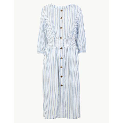 M&S Linen Striped Midi Dress