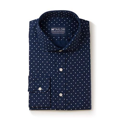 M Tailor Navy Mini Dot Custom-Made Shirt