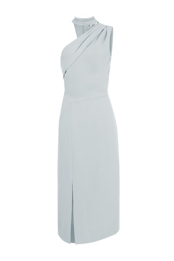 Reiss Asymmetric neckline midi dress in pale green