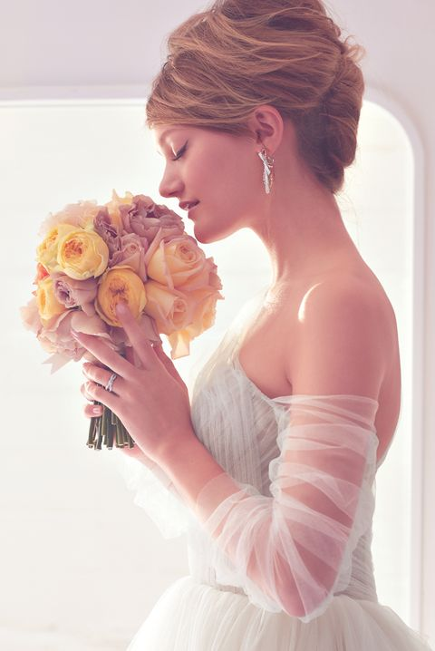 Hair, White, Bride, Shoulder, Pink, Hairstyle, Dress, Beauty, Gown, Wedding dress,