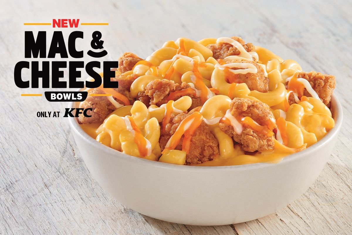 KFC's New Mac & Cheese Bowls Are Topped With Popcorn Chicken And A Three-Cheese Blend