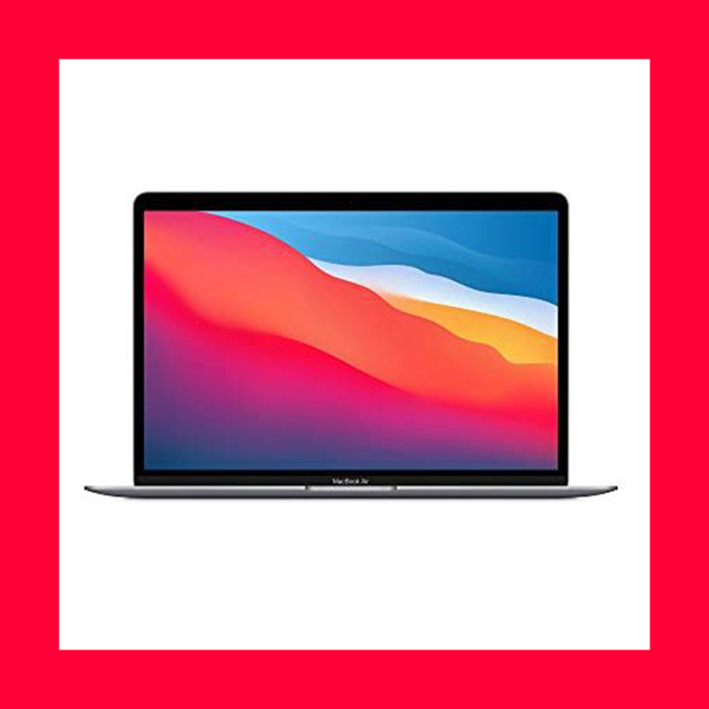 a macbook on a white background with a pink border