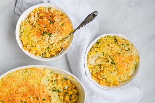 mac 'n cheese ovenschotel met bloemkoolroomsaus