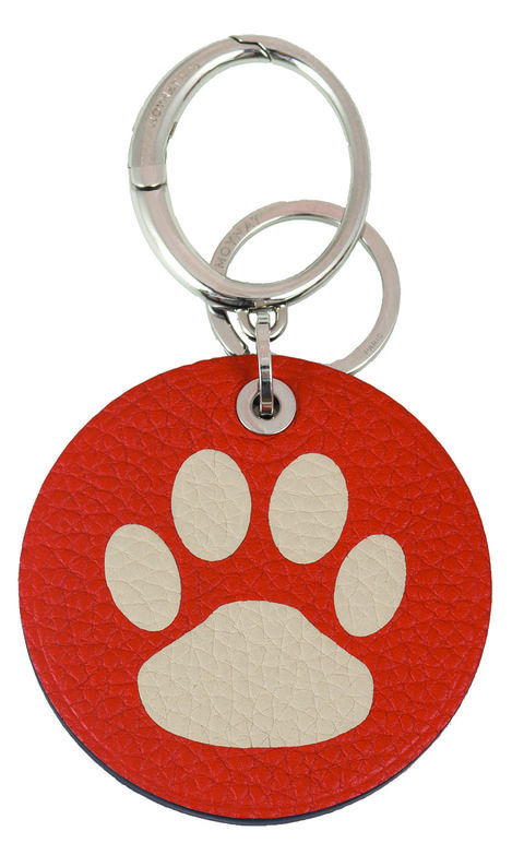 Keychain, Red, Fashion accessory, Paw, Circle,