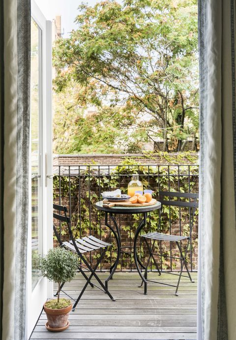 terrace, garden furniture, black table and chairs