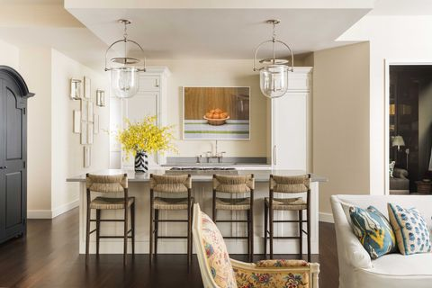 white kitchen, bar stools, clear pendant lights
