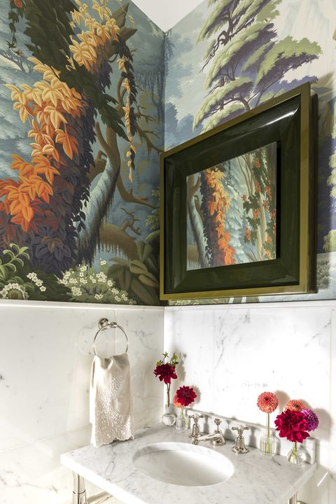 powder room, marble countertop, wallpaper for marble walls,