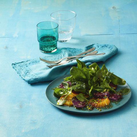 mache, beet, and orange salad