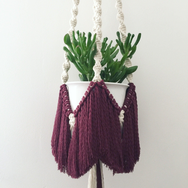 Macrame plant hanger with burgundy fringe £45.00