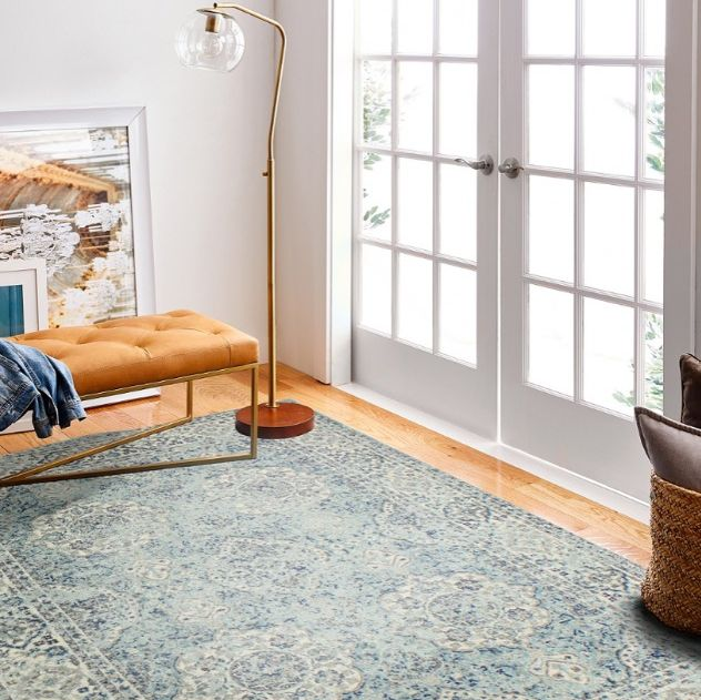 blue area rug and living room and bed in bedroom