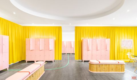 Yellow, Interior design, Ceiling, Room, Curtain, Furniture, Material property, Floor, Textile, Architecture,