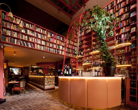 Building, Architecture, Lobby, Interior design, Bar, Mixed-use, Room, Furniture, Retail, Shelving,