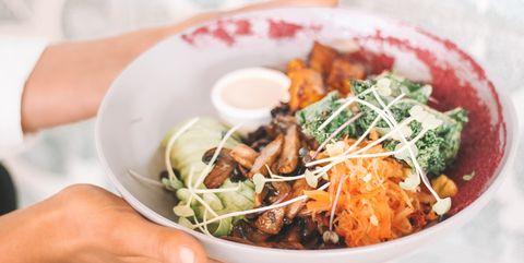 Bowl with vegan food