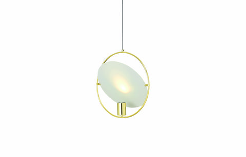 pharo's luxurious brushed brass and angled hanging shapes are sculptural statements in their own right and the matte disc softens the light underneath