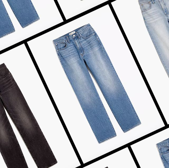 four pairs of madewell jeans on a repeating white background