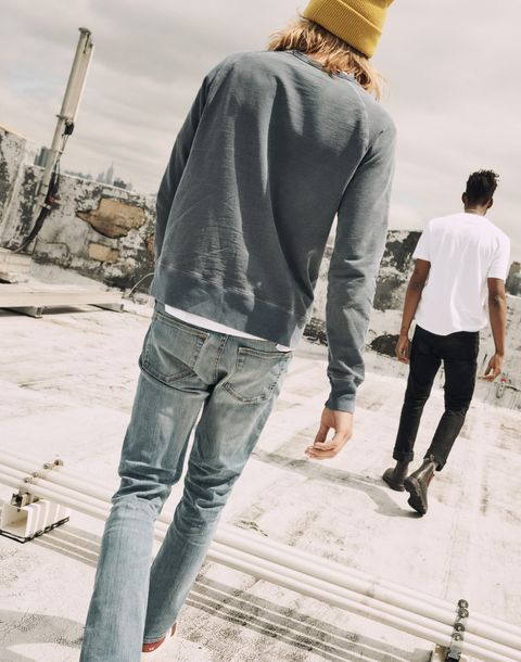 Jeans, Standing, Denim, Cool, Fashion, Human, Outerwear, Leg, Headgear, Textile,