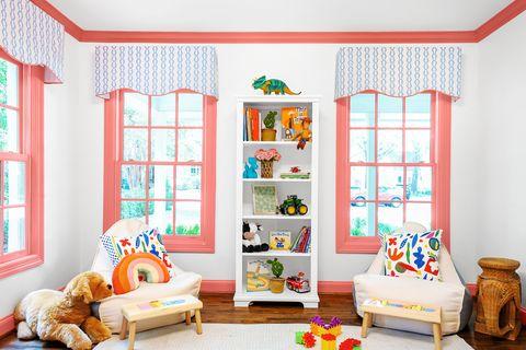 Room, Furniture, Orange, Interior design, Green, Living room, Wall, Window, House, Ceiling,