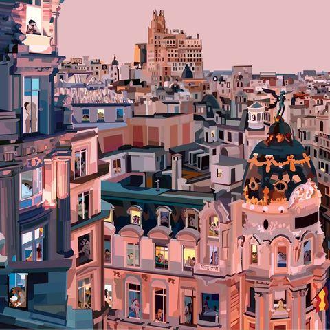 ilustración dela ciudad de madrid durante la cuarentena, donde la vida está en las ventanas de los edificios