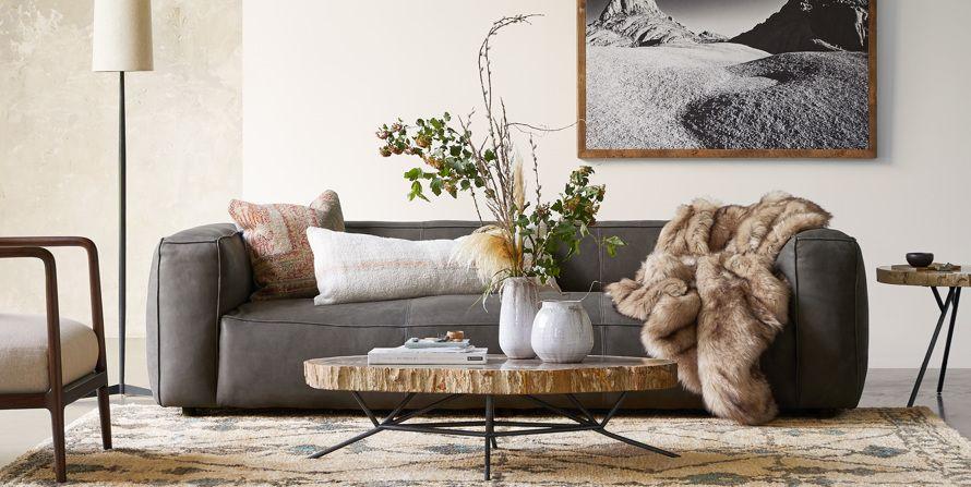 small grey leather sofa uk