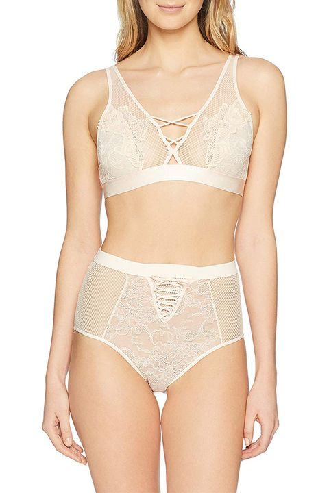 mae lace bralette and high waited panty set cream