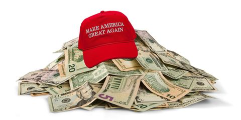 Money, Currency, Cash, Dollar, Baseball cap, Cap, Money handling, Headgear, Paper, Saving,