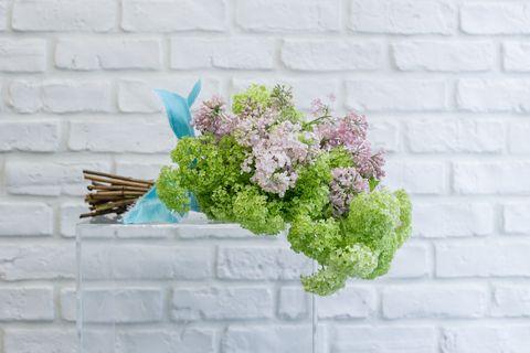 Flower, Wall, Lavender, Blue, Lilac, Plant, Cut flowers, Bouquet, Hydrangea, Floral design,