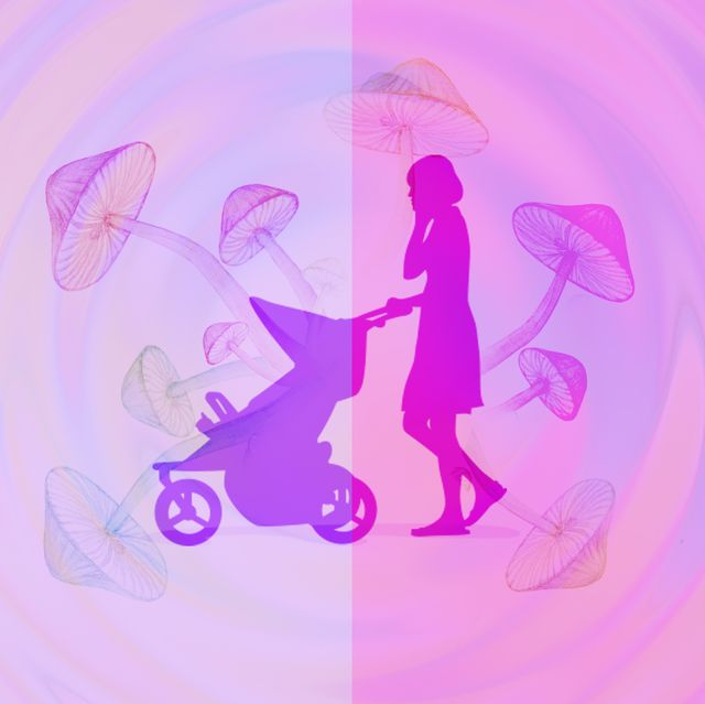 rainbow swirl spiral abstract background, magic mushrooms, mom pushing stroller